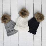 Child's Black cable knit hat & faux fur pom-pom