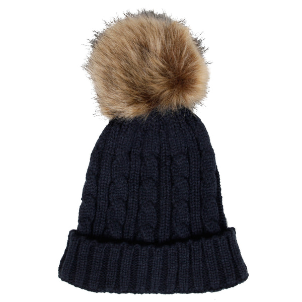Navy cable knit hat & faux fur pom-pom