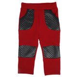 Ministylin girls leggings in dark red with black PU side pockets and knee patches with pocket detailing