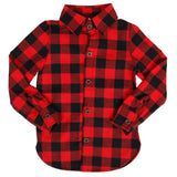 Ministylin children's black and red checked button shirt with long sleeves