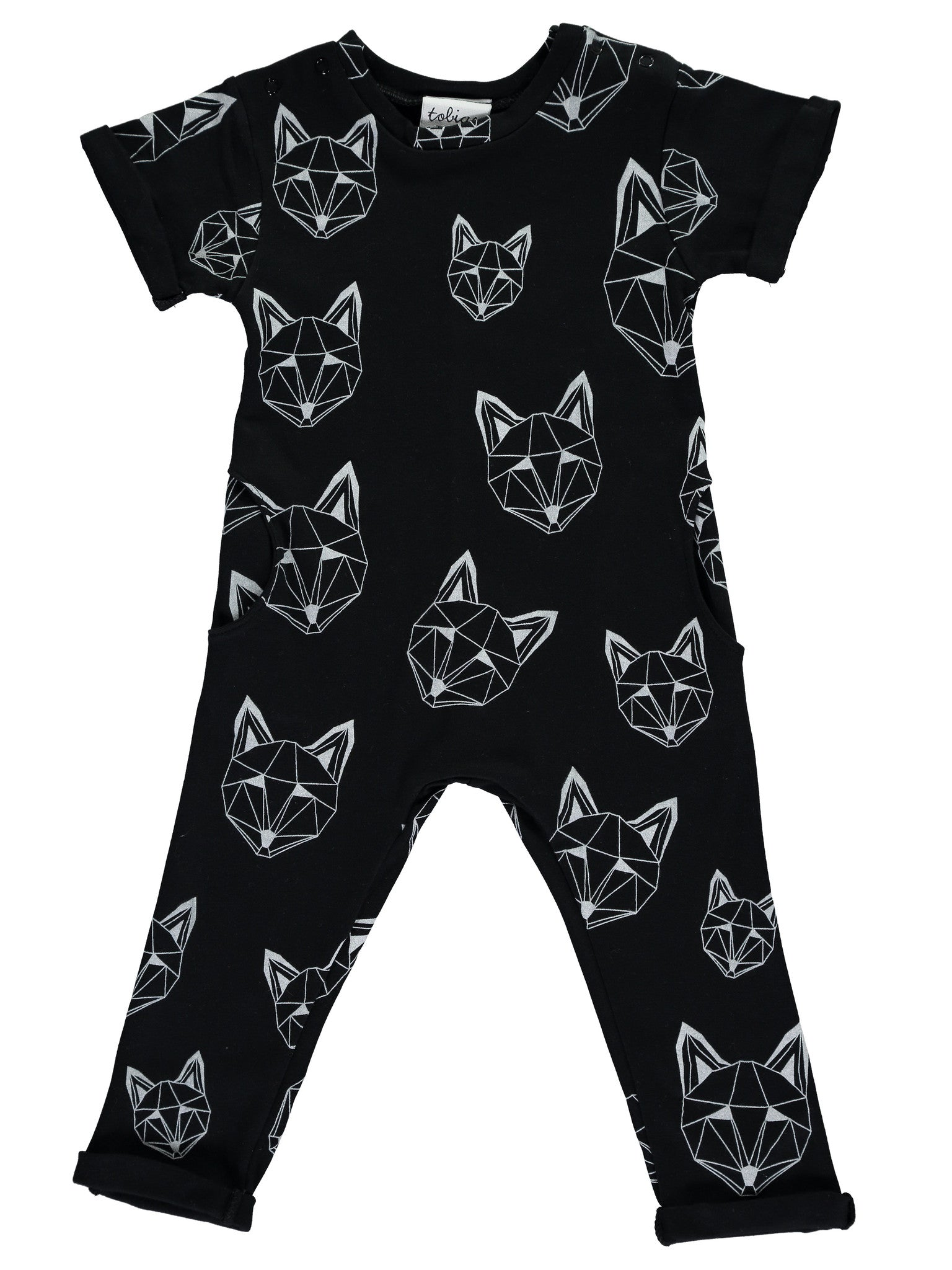 Just call me Fox Long Pocket Romper in Black