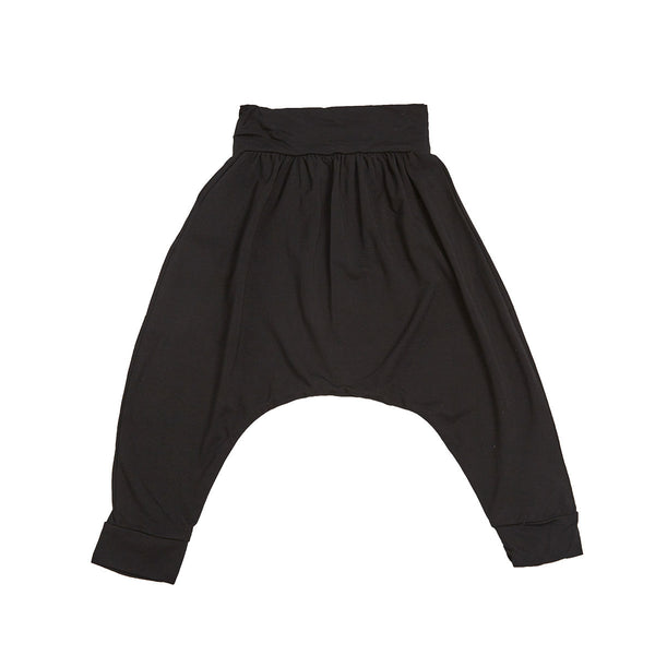Black unisex harem bottoms