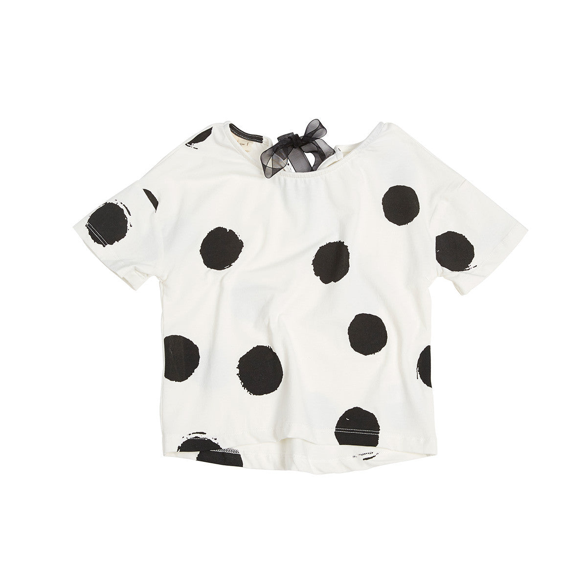 Girls short sleeve dotty t-shirt with lace back tie