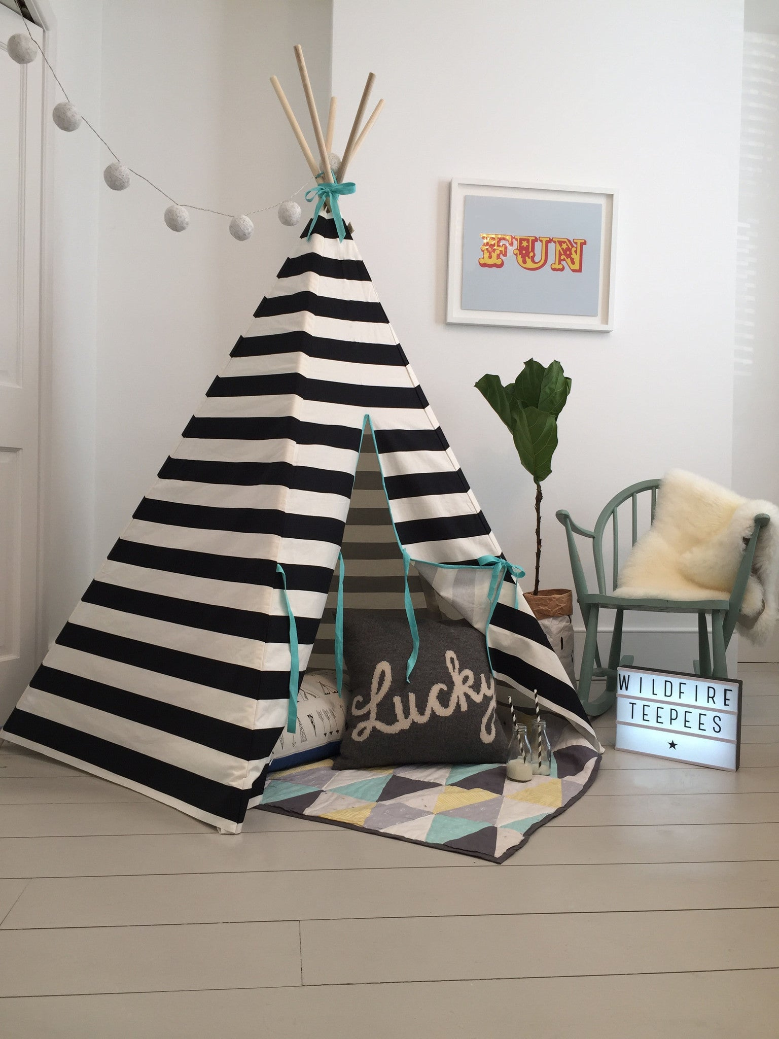 Wildfire Stripe blue trim teepee