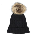 Ministylin children's woolly cable knit bobble faux fur pom pom hat in black