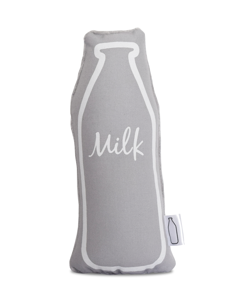 Grey and White Milk bottle baby rattle