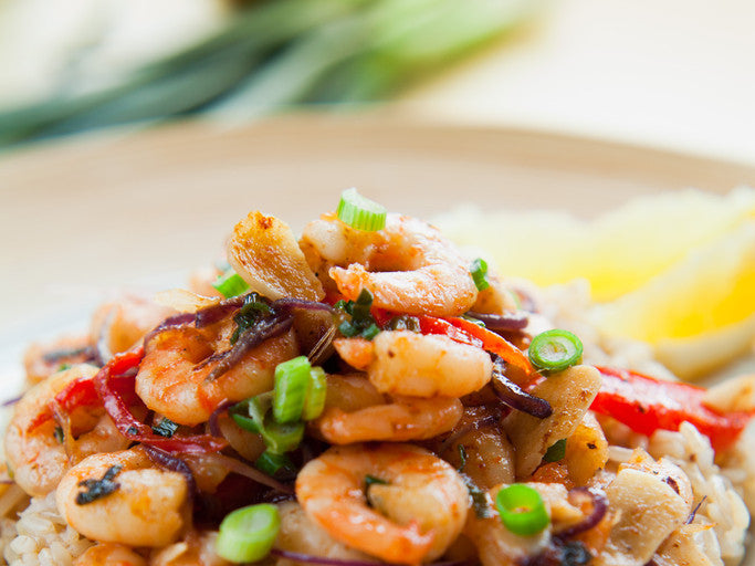 Thai prawns with ginger and spring onion