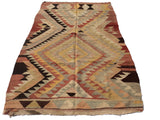 Turkish Kilim rug with Earth tone colors 7,5 x 4,6 feet - Sophie's Bazaar - 1