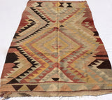Turkish Kilim rug with Earth tone colors 7,5 x 4,6 feet - Sophie's Bazaar - 3