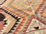 Turkish Kilim rug with Earth tone colors 7,5 x 4,6 feet - Sophie's Bazaar - 4