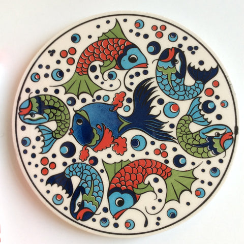 Ceramic Trivet with fun fish design - Sophie's Bazaar - 1