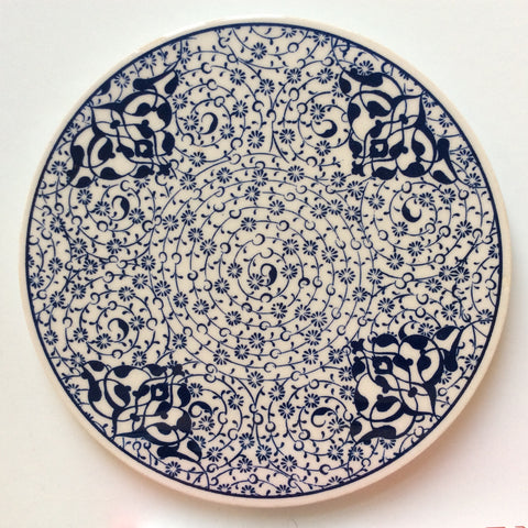 White and Blue Floral Ceramic Trivet - Sophie's Bazaar - 1