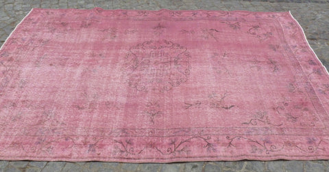 Dusty Pink overdyed area rug, 9 x 6 feet - Sophie's Bazaar - 1