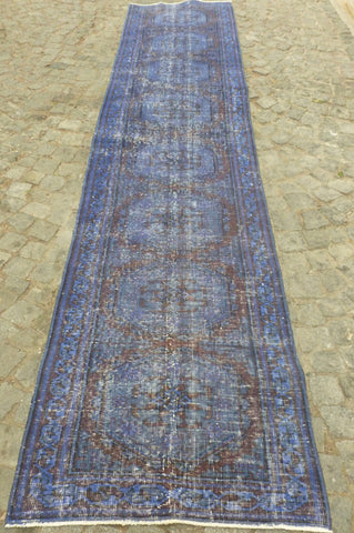 Blue Recolored runner rug, 11,5 * 2,5' - Sophie's Bazaar - 1