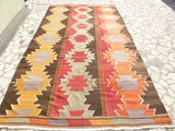 "Bright Colorful Kilim area Rug 10'43"" x 5'74"" - Sophie's Bazaar - 1"