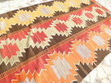 "Bright Colorful Kilim area Rug 10'43"" x 5'74"" - Sophie's Bazaar - 3"