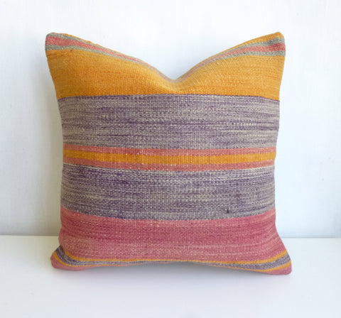 Kilim Pillow Cover with Off blue and Pink Stripes - Sophie's Bazaar - 1