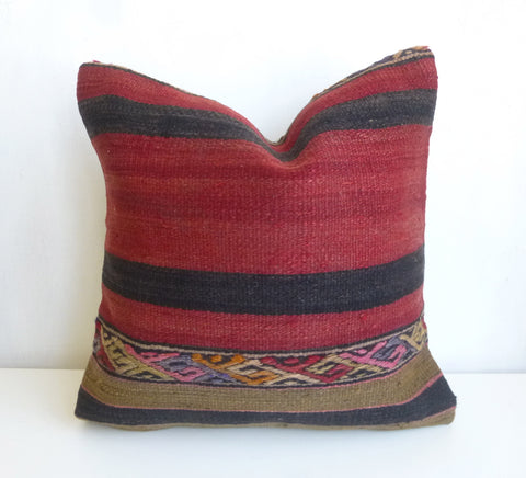 Ethnic Bohemian Kilim Pillow Cover with Stripes - Sophie's Bazaar - 1