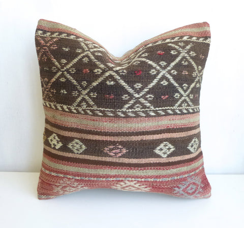 Bohemian Kilim Pillow Cover with Ethnic Stripes - Sophie's Bazaar - 1