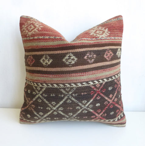 Rustic Kilim Pillow Cover with Ethnic Stripes - Sophie's Bazaar - 1