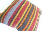 Colorful Kilim Pillow Cover with Stripes - Sophie's Bazaar - 5