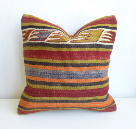 Kilim Pillow Cover with Stripes and Ethnic Design - Sophie's Bazaar - 1