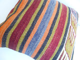 Kilim Pillow Cover with Stripes and Ethnic Design - Sophie's Bazaar - 5