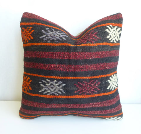 Burgundy and dark Brown Kilim Pillow Cover with Stripes - Sophie's Bazaar - 1