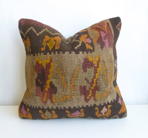 Brown Kilim Pillow Cover - Sophie's Bazaar - 1