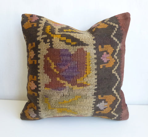 Brown Rustic Kilim Pillow Cover - Sophie's Bazaar - 1