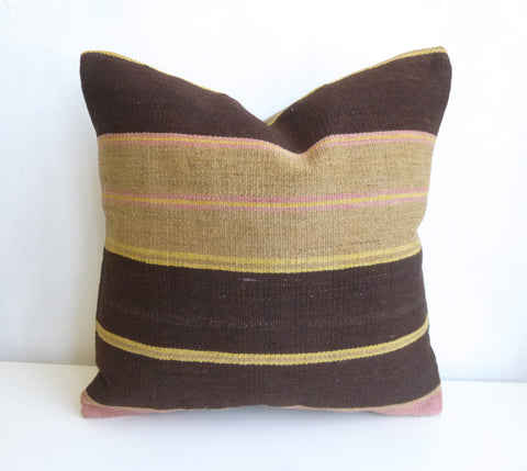 Kilim Pillow Cover with Large stripes - Sophie's Bazaar - 1