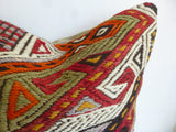 Embroidered Kilim Pillow Cover with Colorful Ethnic design - Sophie's Bazaar - 3