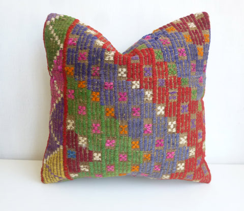 Colorful Kilim Pillow Cover with Ethnic design - Sophie's Bazaar - 1