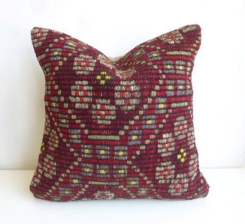 Burgundy Kilim Pillow Cover - Sophie's Bazaar - 1
