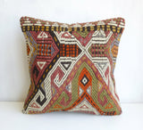 Embroidered Kilim Pillow Cover with Colorful Ethnic design - Sophie's Bazaar - 2