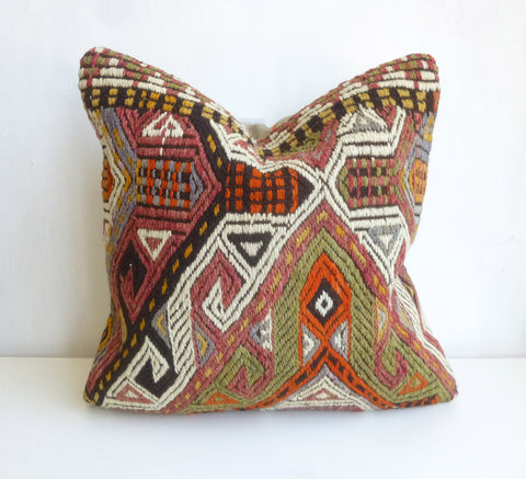 Embroidered Kilim Pillow Cover with Colorful Ethnic design - Sophie's Bazaar - 1