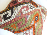 Embroidered Kilim Pillow Cover with Colorful Ethnic design - Sophie's Bazaar - 5