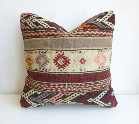 Original Kilim Pillow Cover with Ethnic Stripes - Sophie's Bazaar - 1