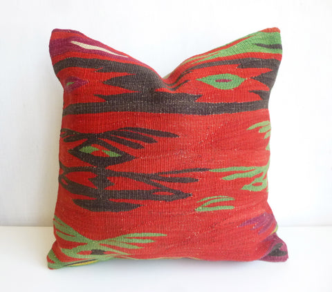 Red Kilim Pillow Cover with Ethnic design - Sophie's Bazaar - 1