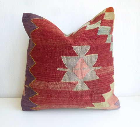 Terracotta Kilim Pillow Cover with Ethnic design - Sophie's Bazaar - 1