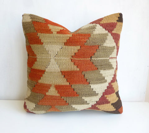 Kilim Pillow Cover with gorgeous Earth Tone Ethnic design - Sophie's Bazaar - 1