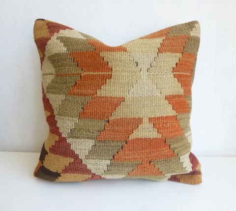 Kilim Pillow Cover with gorgeous Earth Tone ZigZag design - Sophie's Bazaar - 1
