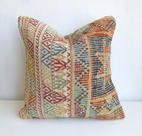 Cream Kilim Pillow Cover with Colorful Embroideries - Sophie's Bazaar - 1
