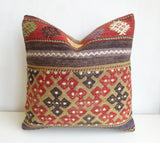 Embroidered Kilim Pillow Cover with Ethnic design - Sophie's Bazaar - 1