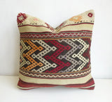 Vintage Burgundy and Cream Kilim Pillow Cover - Sophie's Bazaar - 1