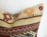 Vintage Burgundy and Cream Kilim Pillow Cover - Sophie's Bazaar - 2