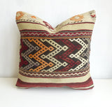 Embroidered Burgundy and Cream Kilim Pillow Cover - Sophie's Bazaar - 1