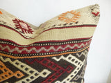 Embroidered Burgundy and Cream Kilim Pillow Cover - Sophie's Bazaar - 2