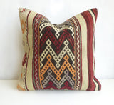 Embroidered Burgundy and Cream Kilim Pillow Cover - Sophie's Bazaar - 3