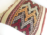 Embroidered Burgundy and Cream Kilim Pillow Cover - Sophie's Bazaar - 4